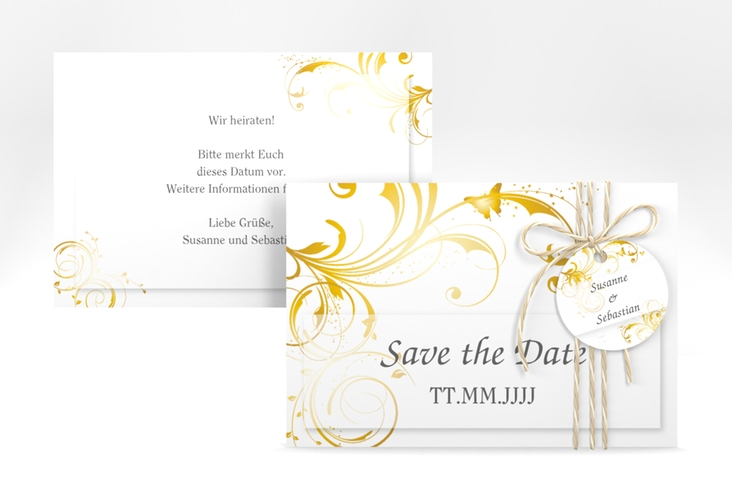 "Save the Date-Karte Hochzeit ""Palma"" A6 quer gold"