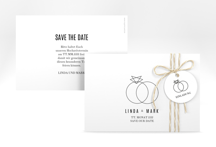 "Save the Date-Karte ""Rings"" A6 quer"