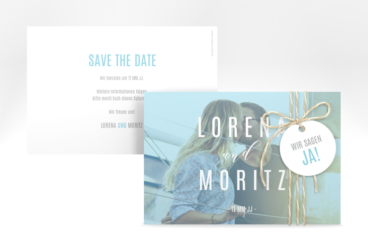 "Save the Date-Karte ""Memory"" A6 quer tuerkis"
