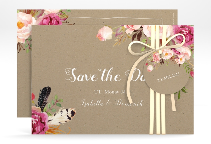 """Save the Date-Karte """"Flowers"""" A6 quer braun"""