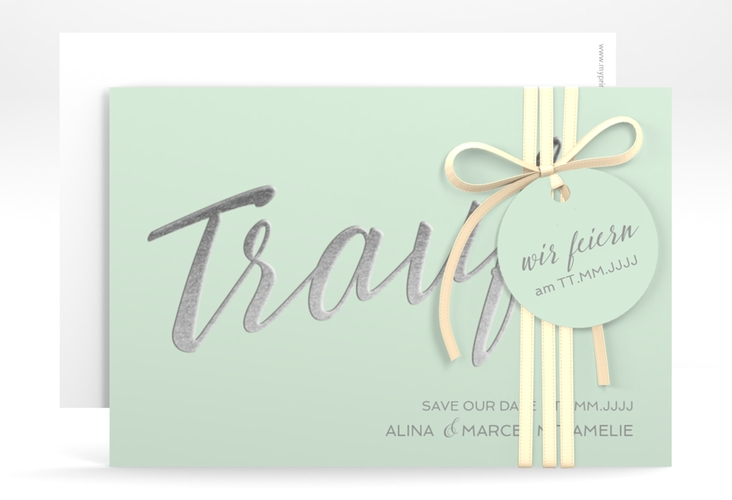 """Save the Date-Karte """"Traufe"""" A6 quer mint"""