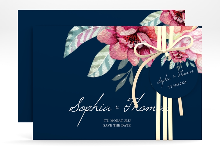 "Save the Date-Karte ""Blooming"" A6 quer blau"