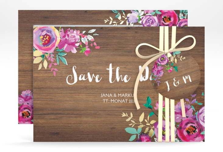 "Save the Date-Karte ""Flourish"" A6 quer braun"