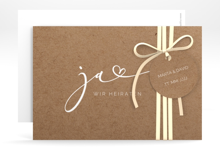 """Save the Date-Karte """"Jawort"""" A6 quer beige"""