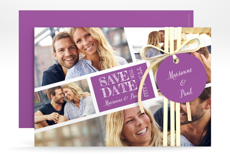 "Save the Date-Karte ""Rise"" A6 quer lila"