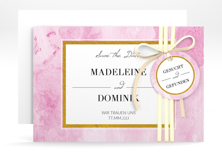 """Save the Date-Karte """"Marble"""" A6 quer rosa"""
