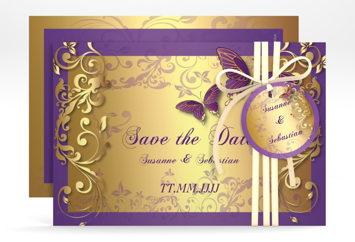 "Save the Date-Karte Hochzeit ""Toulouse"" A6 quer lila"