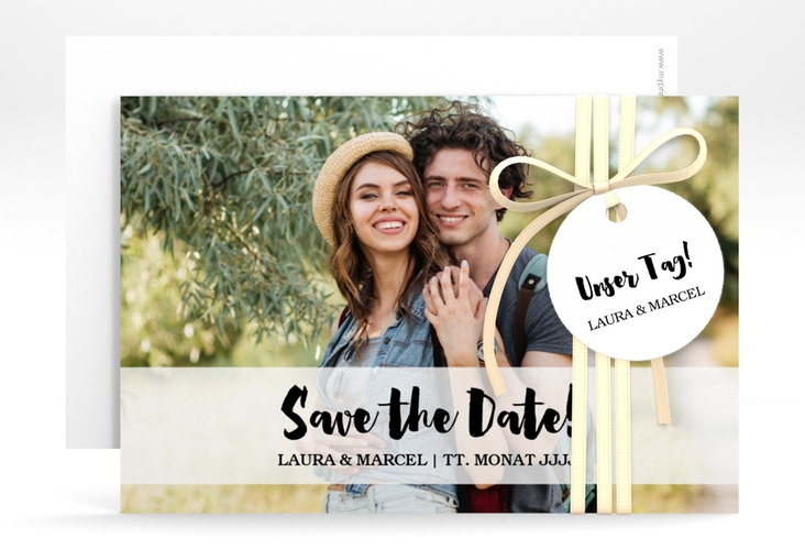 "Save the Date-Karte ""Mirage"" A6 quer weiss"