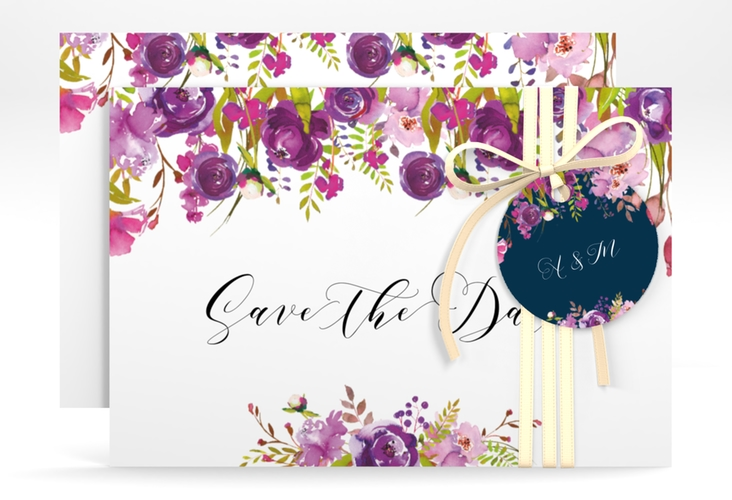 "Save the Date-Karte ""Violett"" A6 quer"