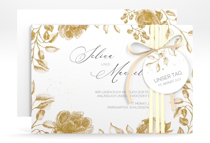 "Save the Date-Karte ""Blattgold"" A6 quer"