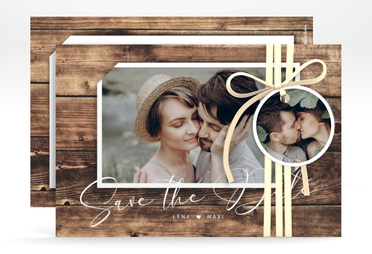 """Save the Date-Karte """"Rustic"""" A6 quer braun"""