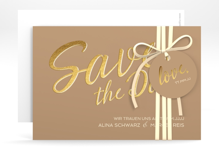 """Save the Date-Karte """"Glam"""" A6 quer beige"""