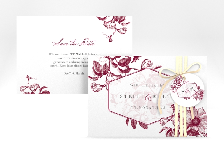 """Save the Date-Karte """"Magnificent"""" A6 quer rot"""