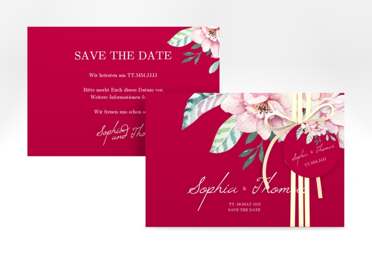 "Save the Date-Karte ""Blooming"" A6 quer rot"