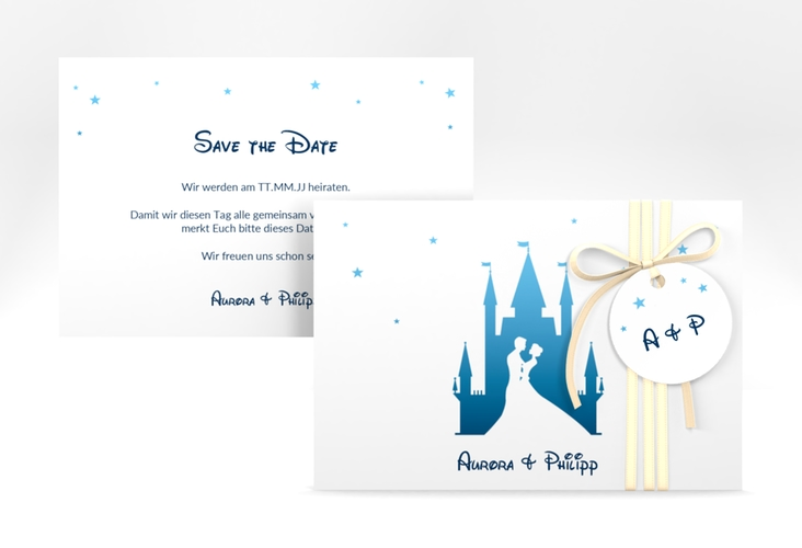 "Save the Date-Karte ""Castle"" A6 quer blau"