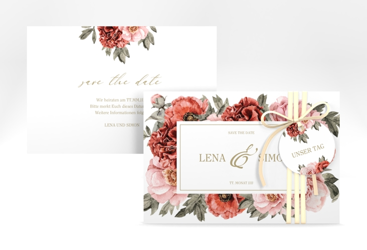 """Save the Date-Karte """"Amapola"""" A6 quer weiss"""