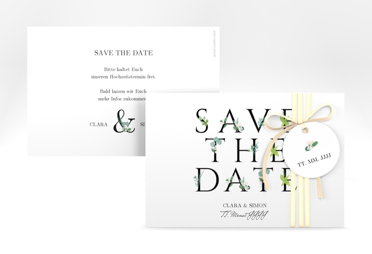 "Save the Date-Karte ""Greens"" A6 quer"