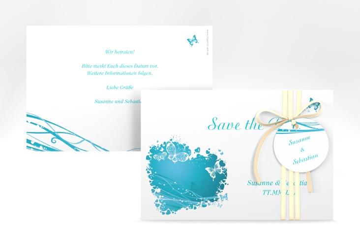 """Save the Date-Karte Hochzeit """"Mailand"""" A6 quer tuerkis"""
