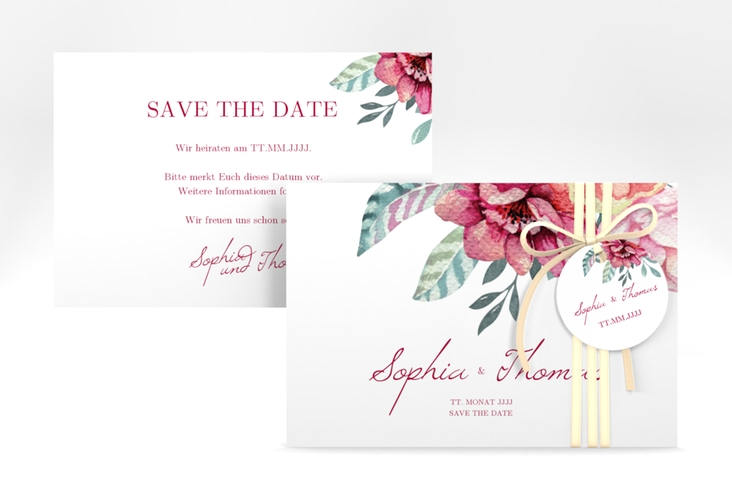 "Save the Date-Karte ""Blooming"" A6 quer weiss"