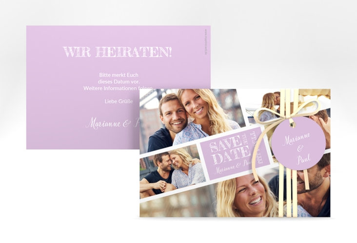"""Save the Date-Karte """"Rise"""" A6 quer flieder"""