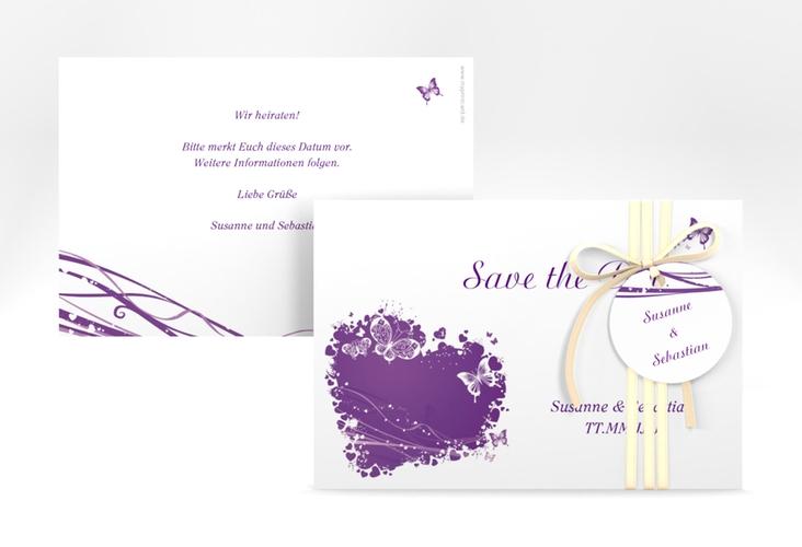 "Save the Date-Karte Hochzeit ""Mailand"" A6 quer lila"
