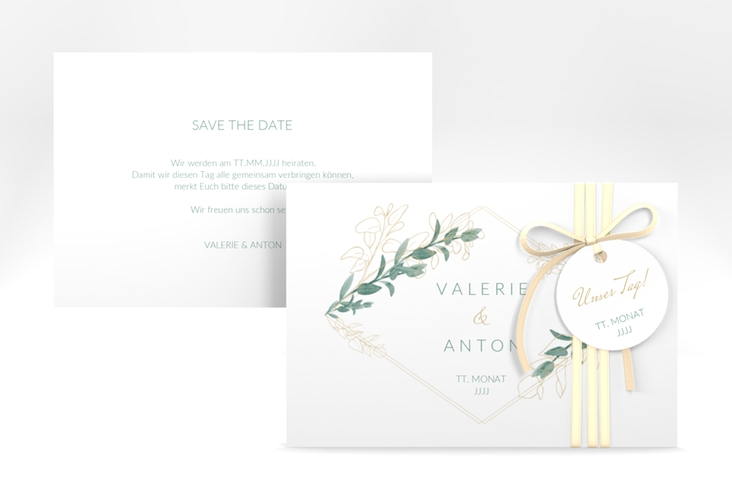 "Save the Date-Karte ""Verde"" A6 quer"