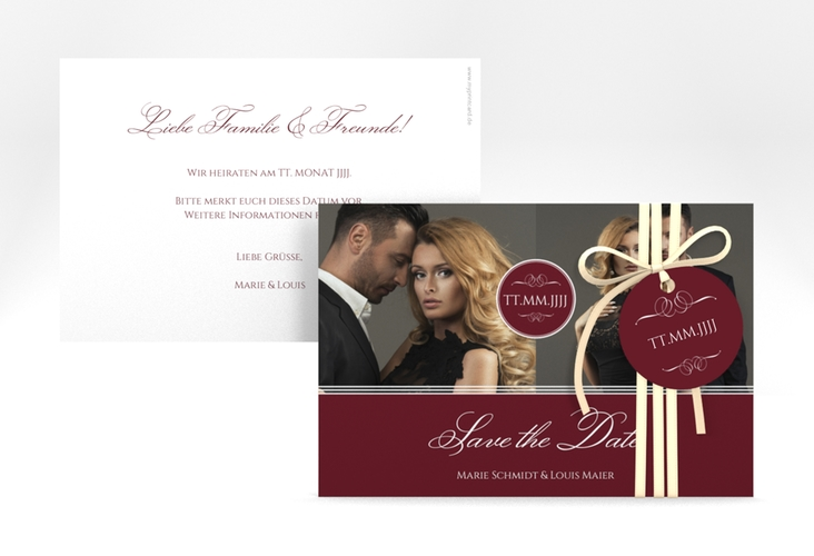 """Save the Date-Karte """"Elegancy"""" A6 quer rot"""