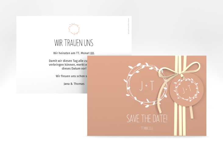 "Save the Date-Karte ""Laurel"" A6 quer apricot"