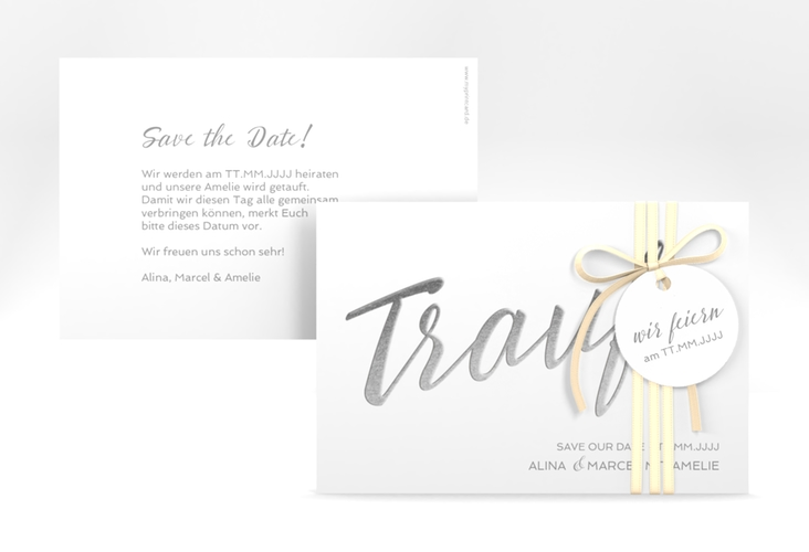 "Save the Date-Karte ""Traufe"" A6 quer weiss"