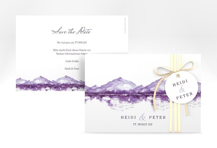 "Save the Date-Karte ""Bergliebe"" A6 quer lila"