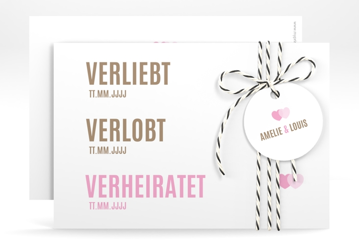 "Save the Date-Karte ""Couple"" A6 quer rosa"