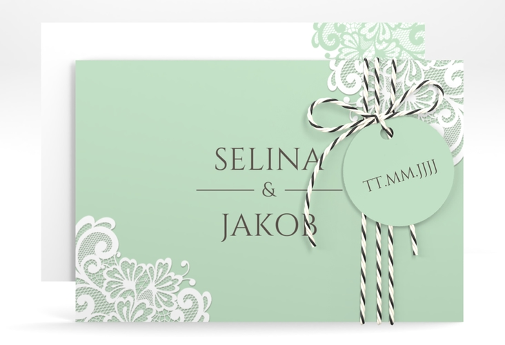 """Save the Date-Karte """"Vintage"""" A6 quer mint"""