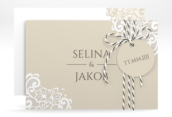 """Save the Date-Karte """"Vintage"""" A6 quer beige"""