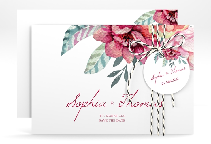 """Save the Date-Karte """"Blooming"""" A6 quer weiss"""