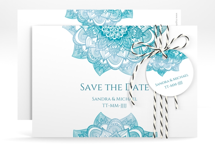 "Save the Date-Karte Hochzeit ""Delight"" A6 quer tuerkis"