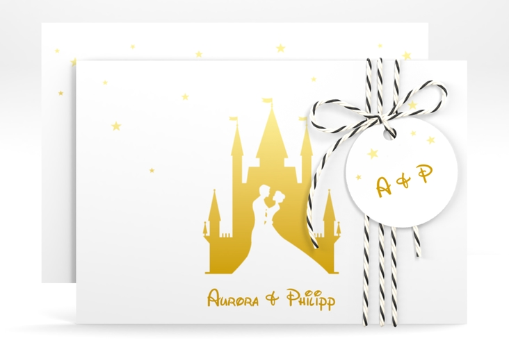 """Save the Date-Karte """"Castle"""" A6 quer gold"""