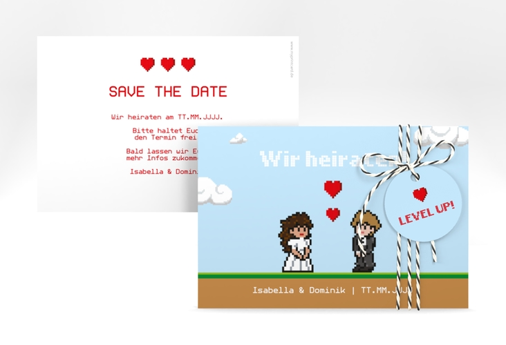 """Save the Date-Karte """"Pixel"""" A6 quer"""