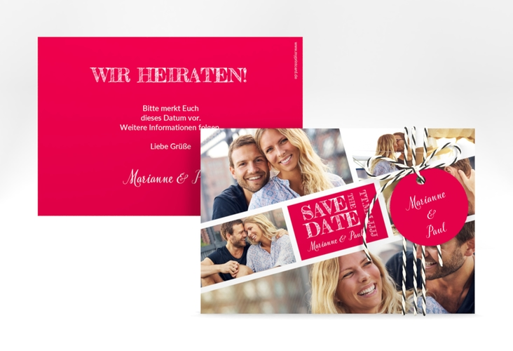 "Save the Date-Karte ""Rise"" A6 quer pink"