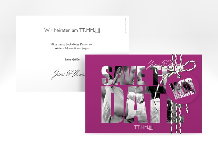 """Save the Date-Karte Hochzeit """"Letters"""" A6 quer pink"""