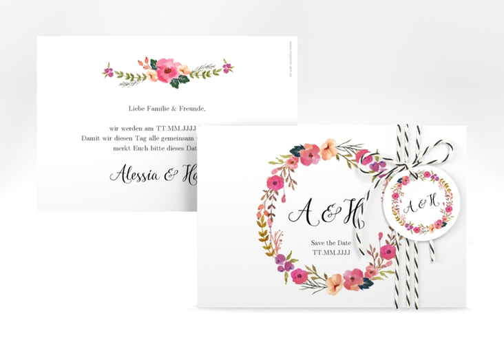 "Save the Date-Karte ""Fiore"" A6 quer"