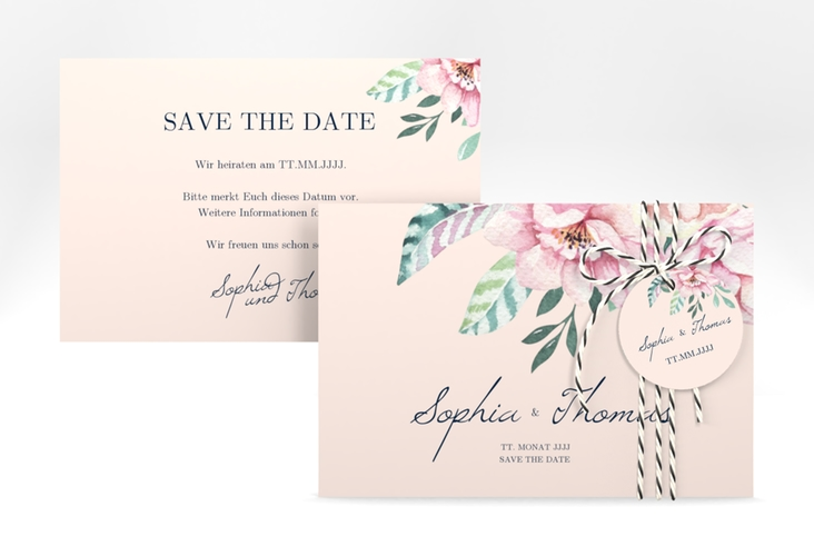 """Save the Date-Karte """"Blooming"""" A6 quer rosa"""