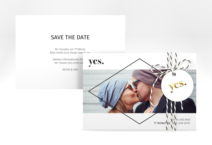 """Save the Date-Karte """"Yes"""" A6 quer"""