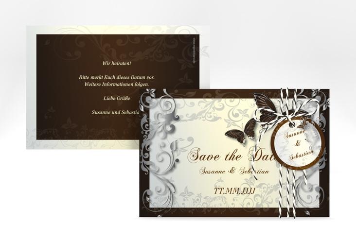 "Save the Date-Karte Hochzeit ""Toulouse"" A6 quer braun"