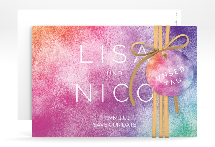 """Save the Date-Karte """"Colorful"""" A6 quer"""
