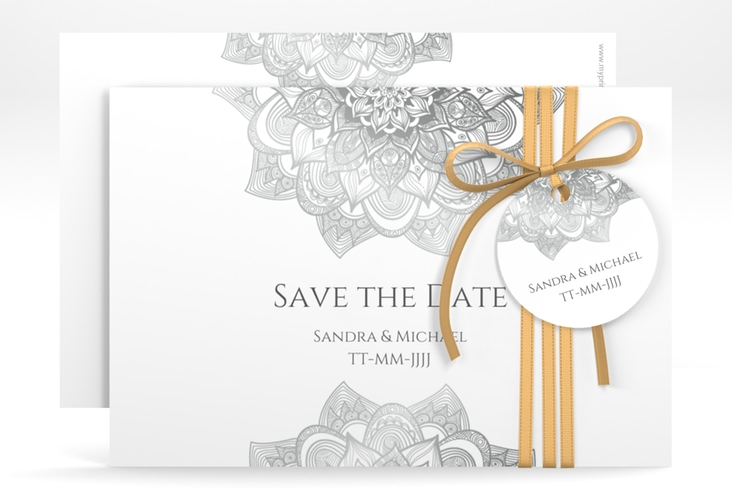 "Save the Date-Karte Hochzeit ""Delight"" A6 quer grau"