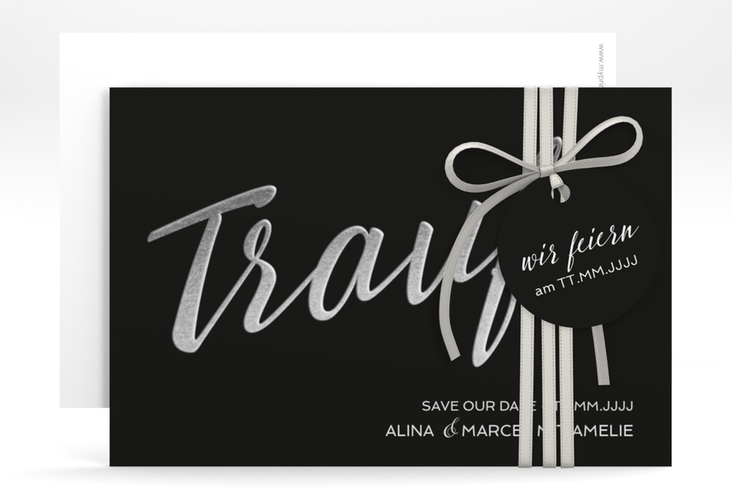 "Save the Date-Karte ""Traufe"" A6 quer schwarz"
