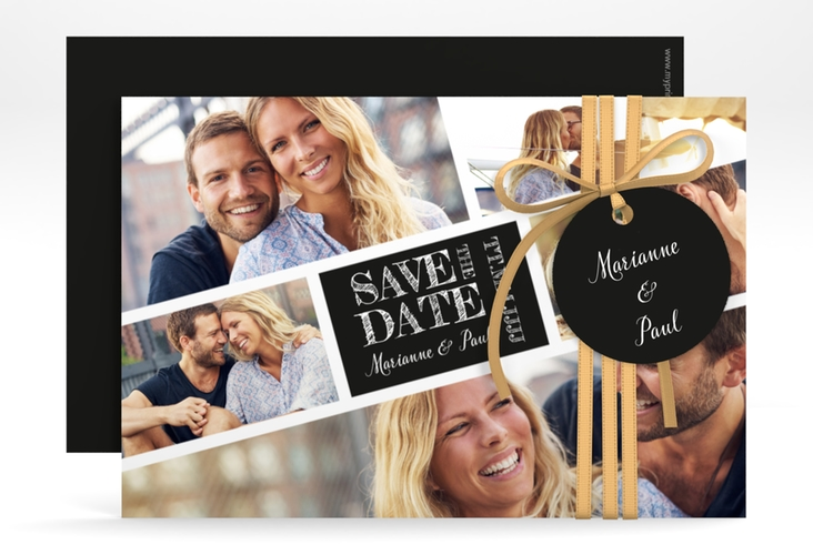 """Save the Date-Karte """"Rise"""" A6 quer schwarz"""