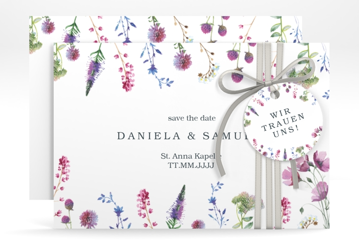 "Save the Date-Karte ""Wildblumen"" A6 quer"