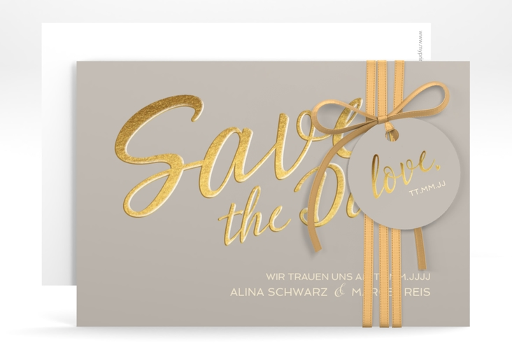 "Save the Date-Karte ""Glam"" A6 quer grau"