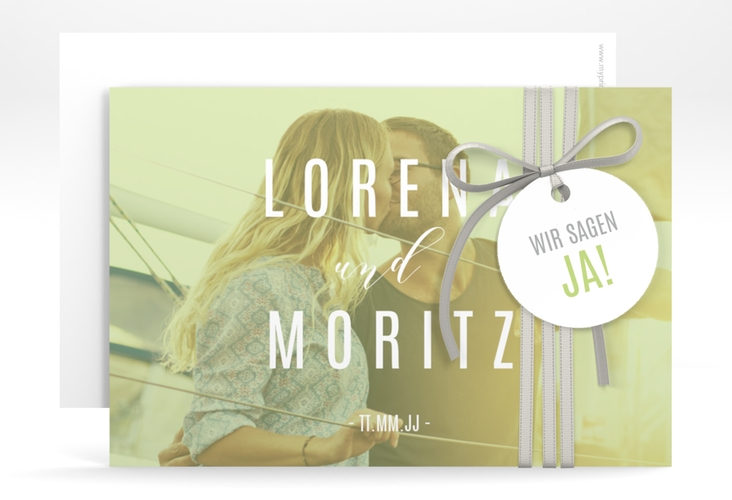 "Save the Date-Karte ""Memory"" A6 quer gruen"